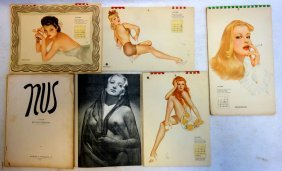 Grouping Of 6 Pinup Art Calendars And Albums Including: