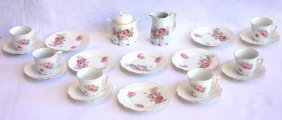 Porcelain Doll Tea Set Decorated With Roses Consisting