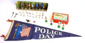 Grouping Of Toys Including Hand Painted Railroad