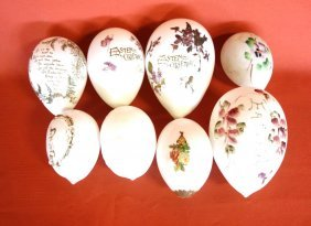 Group Of 8 Hand Blown And Painted Glass Easter Eggs