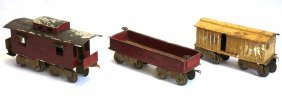 Three Old Tin Large Scale Model Train Cars - All In