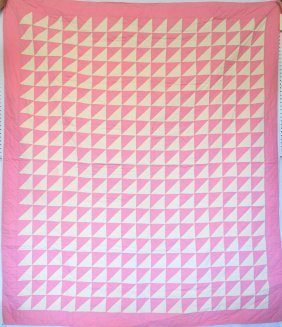 Patchwork Quilt With Pink Flying Geese - Circa 1930 -
