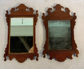 Two Chippendale Style Mahogany Mirrors. One With