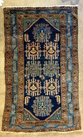 Oriental Scatter Rug, Minor Wear Around Perimeter,