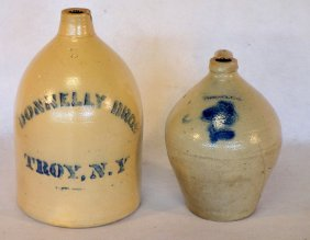 Two Troy Ny Stoneware Jugs Including 1 Gallon Ovoid