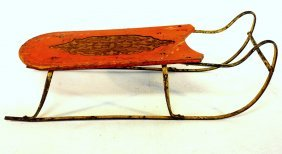 Early Child's Sled With Yellow Iron Runners, Pressed