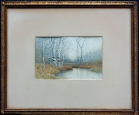 W/c Landscape With White Birch Trees And Pond Signed