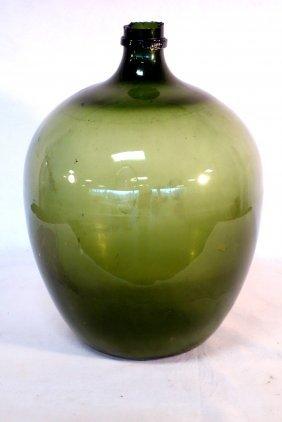 Large Demijohn Olive Green Bottle, Free Blown, 19th