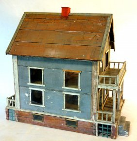 Large Primitive 19th Century Hand Made Wooden 2 Story