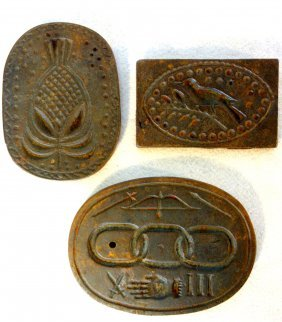 Grouping Of 3 Cast Iron Cookie Molds Including Bird On