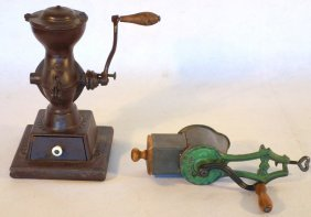 Two Grinders Including Cast Iron Coffee Grinder Signed