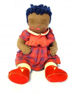 Unusual Hand Made Folk Art Chubby Black Doll With Blue