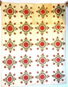 Applique Summer Quilt In Strawberry Design - Brown