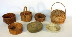 Grouping Of 7 Old Splint Baskets, Including An Usual