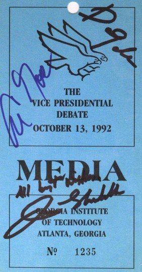 1992 VP Debate - Flyer Signed By Participants
