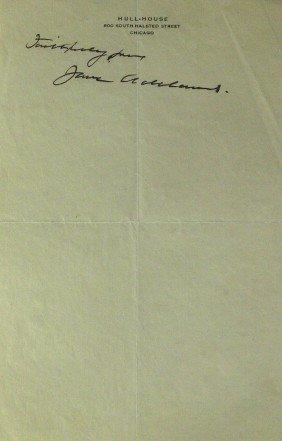 Hull House Reformer JANE ADDAMS - Sheet Signed