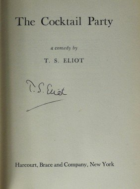 Author T S ELIOT - His Play Cocktail Party, Signed