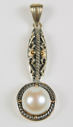 ANTIQUE STERLING SILVER PENDANT CULTURED PEARL