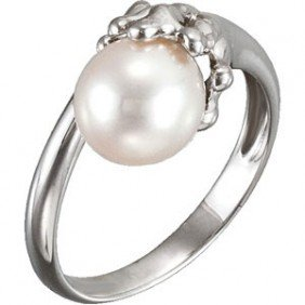 STERLING SILVER RING FRESHWATER CULTURED PEARL 8.5MM