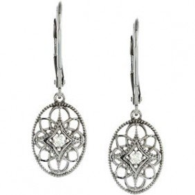 STERLING SILVER EARRINGS DIAMOND DANGLE