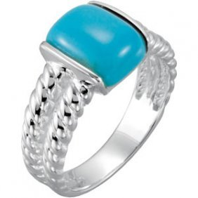 STERLING SILVER RING GENUINE TURQUOISE = 3 CARATS!