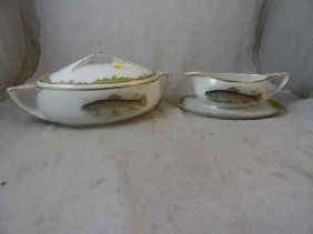 12210050O: ROSENTHAL FISCH DECORATED TUREEN & GRAVY BOA