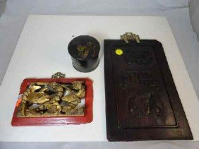 12210069: CHINESE LACQUERWARE BOX & 2 CHINESE CARVINGS,