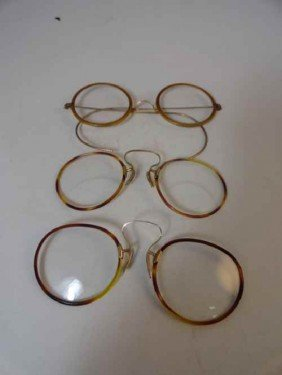 12210077: 3 19TH C. EYEGLASSES: 2 ARE 10 K GOLD