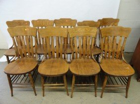 12210027K: OAK TABLE & 9 LARKIN CHAIRS