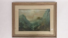 Pastel Landscape Drawing Of Yosemite, Mid-late 19th