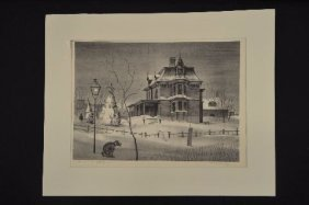 """victorian Mansion"" 1931 Lithograph By Sanford Ross,"