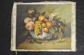 Early Continental Still Life With Fruit And Flowers Oil