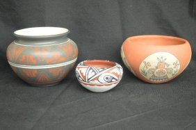 3 Pieces Artist Signed Native American Pottery Drake,