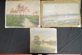 3 Oil On Canvas Landscape Paintings By Elizabeth