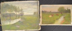 2 Oil On Canvas Landscape Paintings By Elizabeth