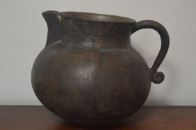 Early American Hand Hammered Heavy Bronze Pitcher With