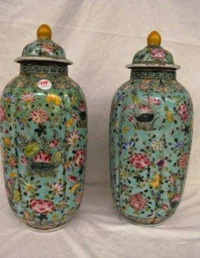 "Pair Of Matching Rose Medallion Lidded Vases 18 1/2"""