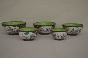 "Set Of Five Chinese Enameled Nesting Bowls 7 1/4"" And"
