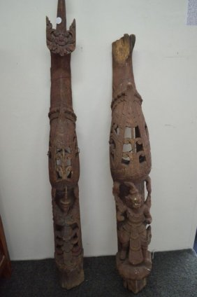 """Pair Of Large Thai Carvings 59"""" X 6"""" X 5"""" And Smaller"""