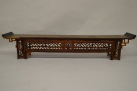 "Antique Chinese Bench W/bamboo Base 78"" X16"" X 13"""