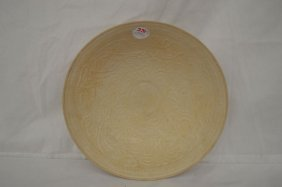 "Delicately Incised Cream Colored Porcelain Bowl 10""d"