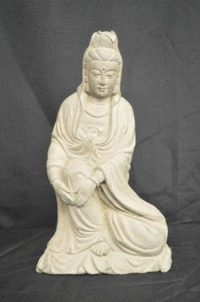 Carved Stine Buddhist Figure, Mid 20th Cent