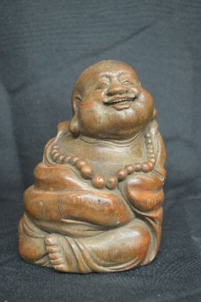 "Happy Buddha, Huangli Wood, 6 1/2"" X 5 1/2"""