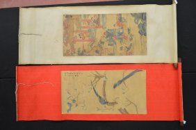 2 Scrolls Of Chinese Watercolor Painting One Of A