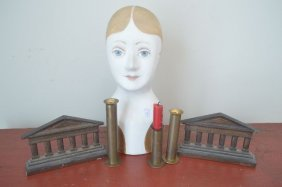 Bronze Bookends, Pottery Head, And 3 Trench Art