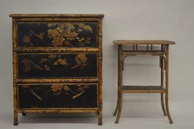 19th Century Chinese Theme Laquered And Hand Painted