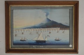 Painting Of Etna Arca, Early 1800's With Provenance
