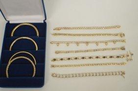 8 Pcs. Sterling Vermeil Pieces With Semi Precious