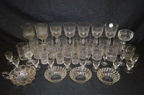44 Pieces Of Antique Colorless Glass