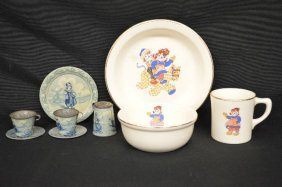 Raggedy Anne Baby Cup And Bowl And Toleware Delft
